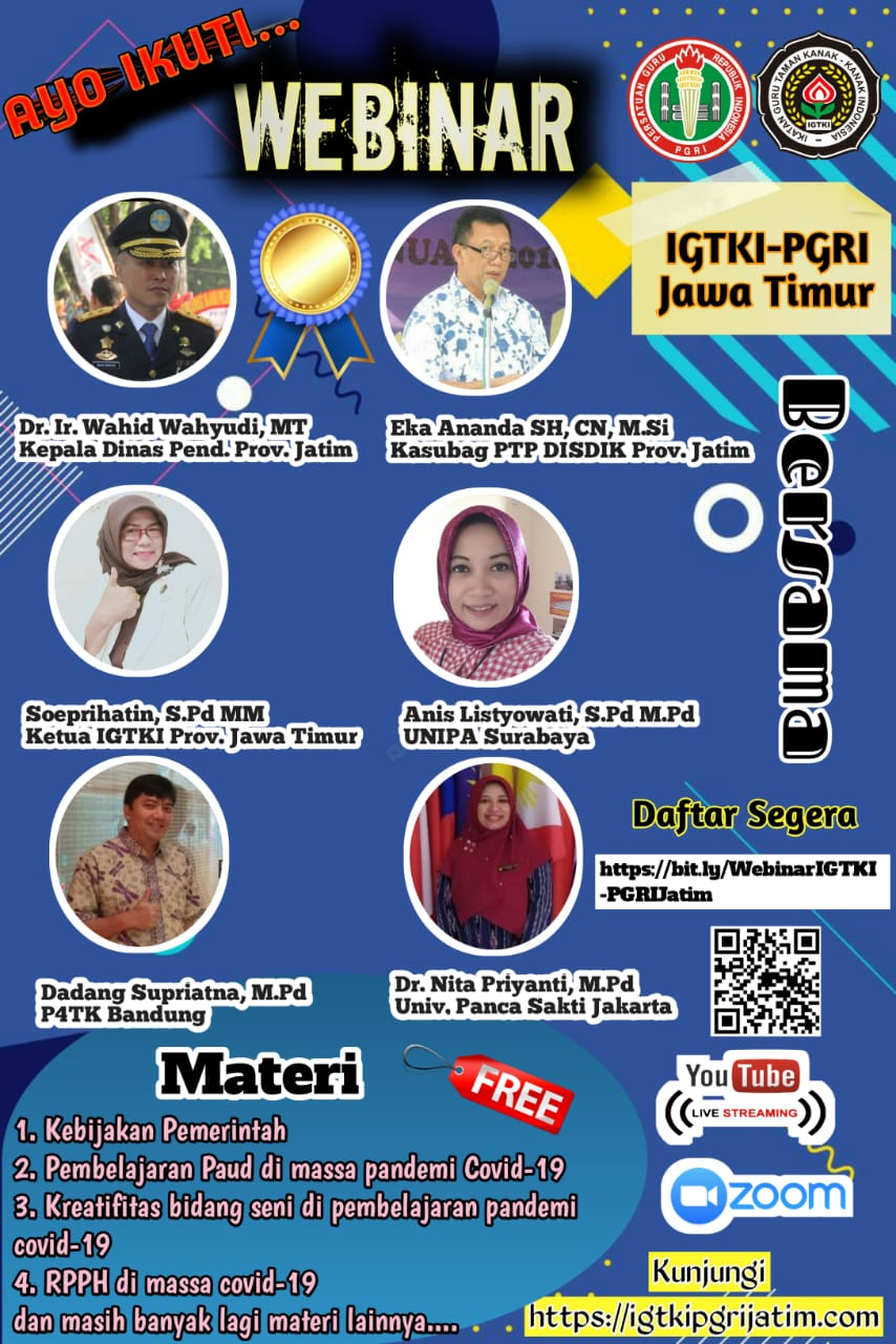 Jadwal WEBINAR dan link IGTKI-PGRI Jawa Timur untuk umum